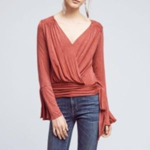 Deletta Anthropologie Rust Red Bell Sleeve Blouse